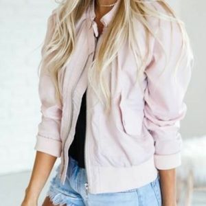 Free people bomber jacket size medium pink